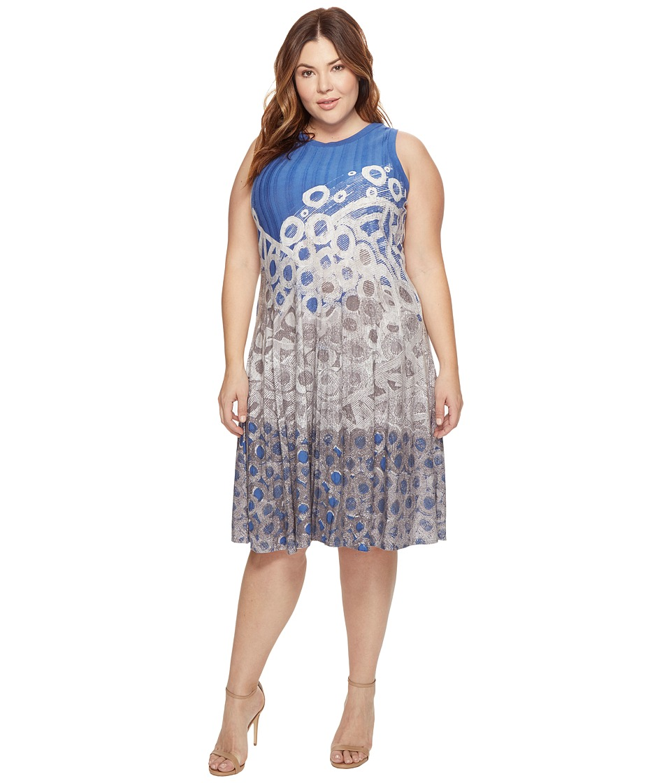 NIC+ZOE - Plus Size Rain Drops Twirl Dress (Multi) Women's Dress
