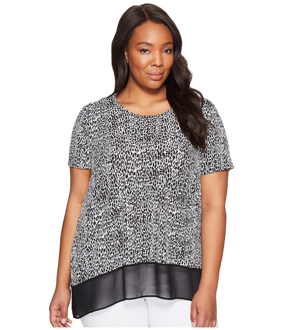 Karen Kane Plus - Plus Size Asymmetric Sheer Hem Top (Print) Women's Clothing