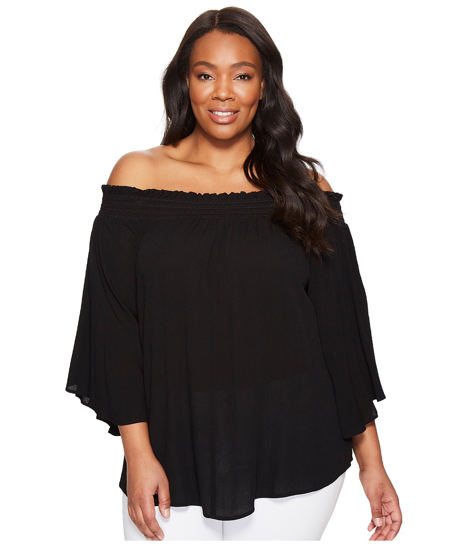 Karen Kane Plus - Plus Size Off the Shoulder Top (Black) Women's Clothing