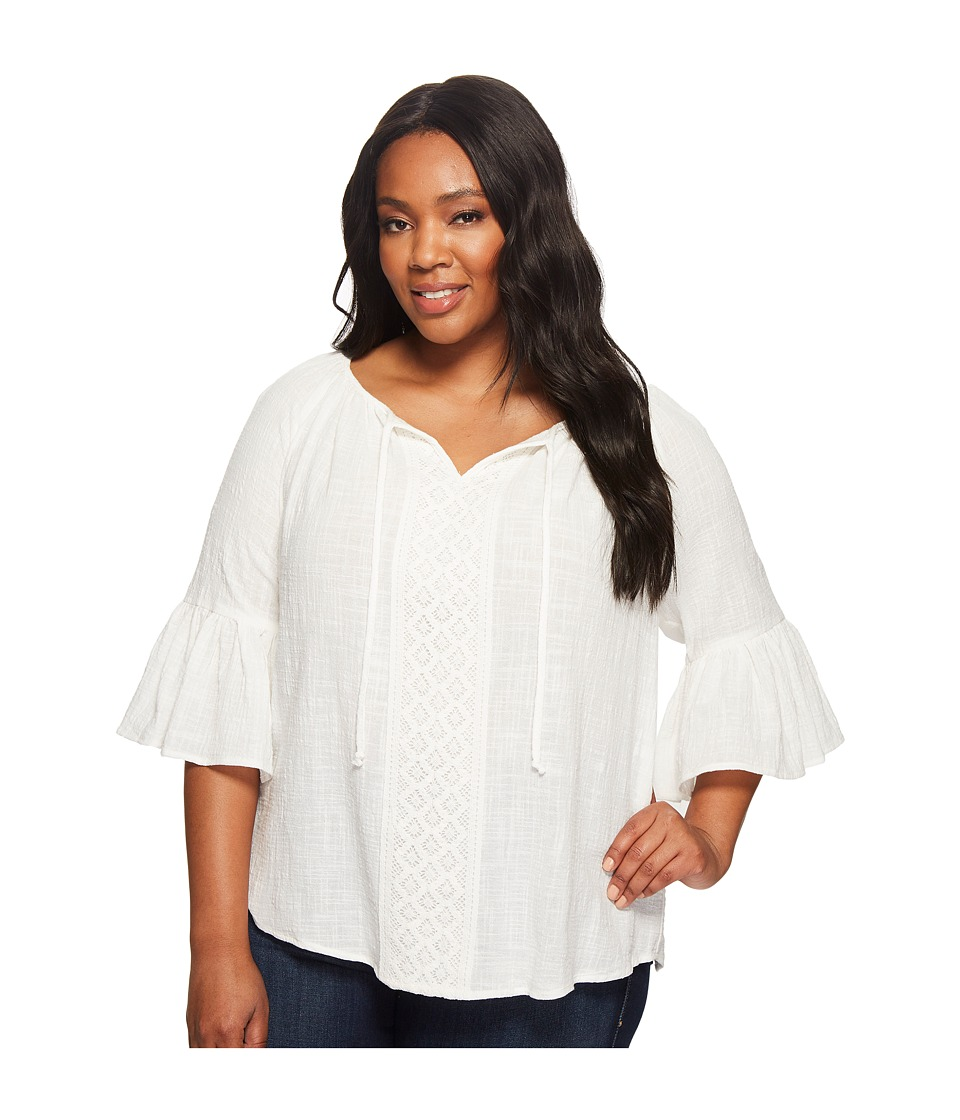 Karen Kane Plus - Plus Size Bell Sleeve Top (Off-White) Women's Clothing