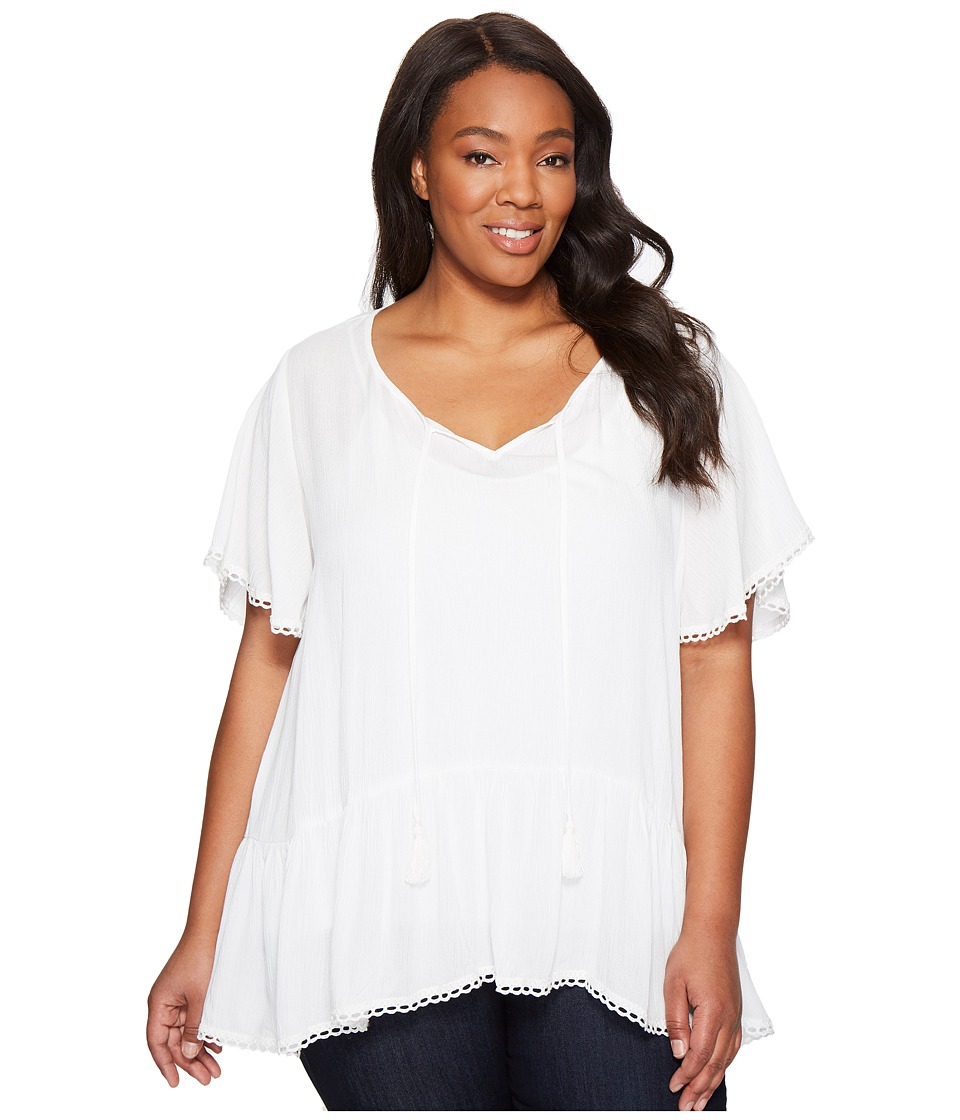 Karen Kane Plus - Plus Size Lace Trim Short Sleeve Top (Off-White) Women's Clothing