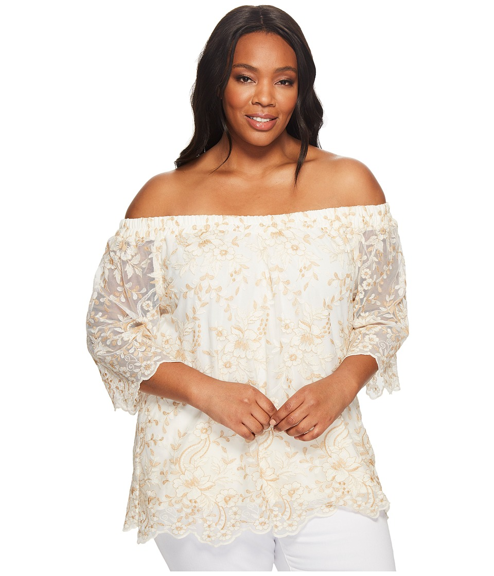 Karen Kane Plus - Plus Size Off the Shoulder Embroidery Top (Cream) Women's Clothing