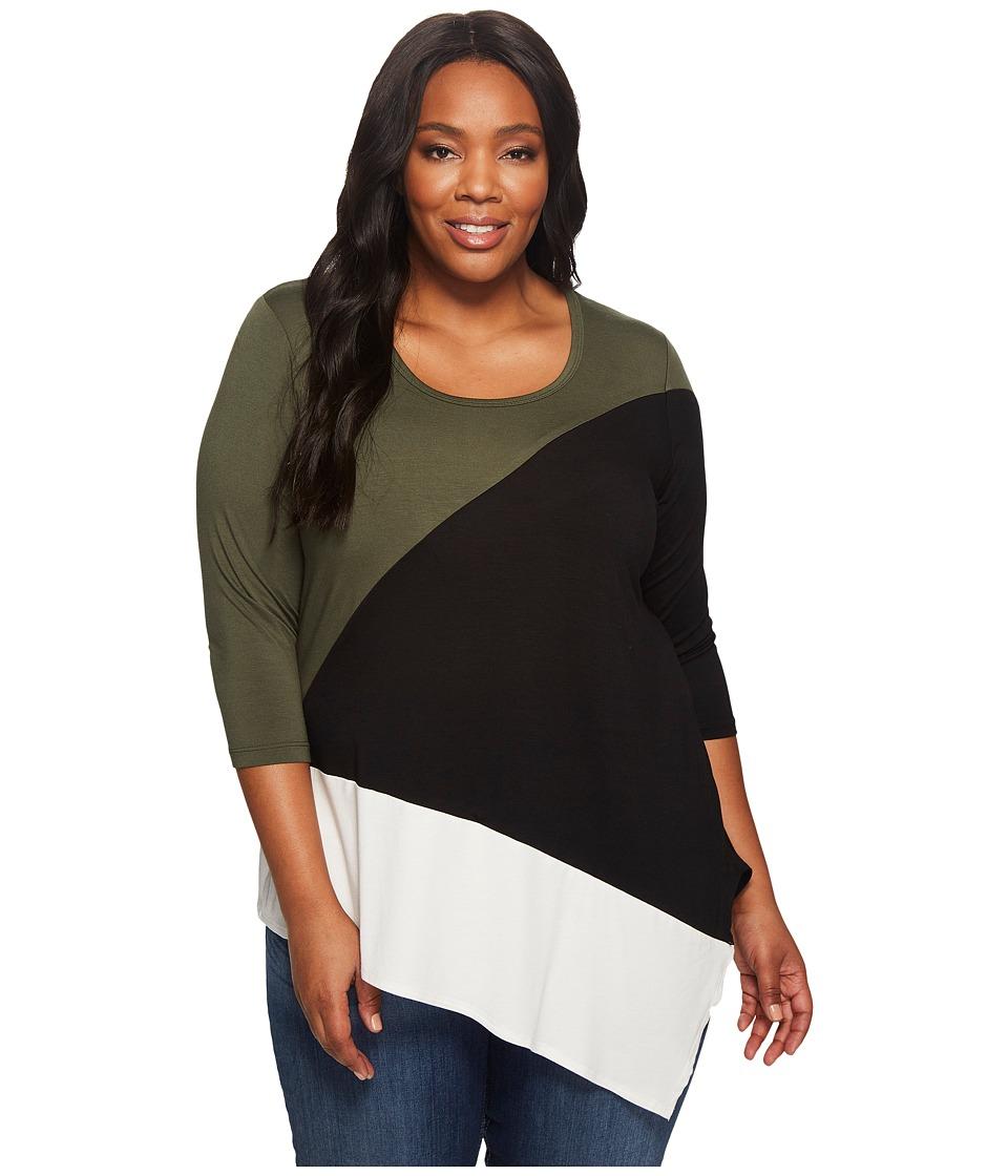 Karen Kane Plus - Plus Size Color Block Angle Top (Multicolor) Women's Clothing