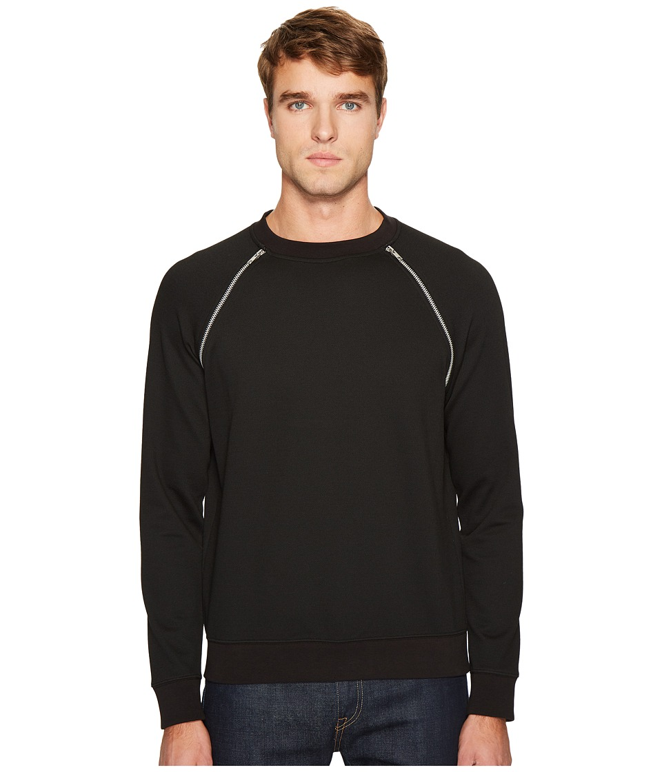 McQ - Zip Crew Neck Sweatshirt (Darkest Black) Men's Sweatshirt