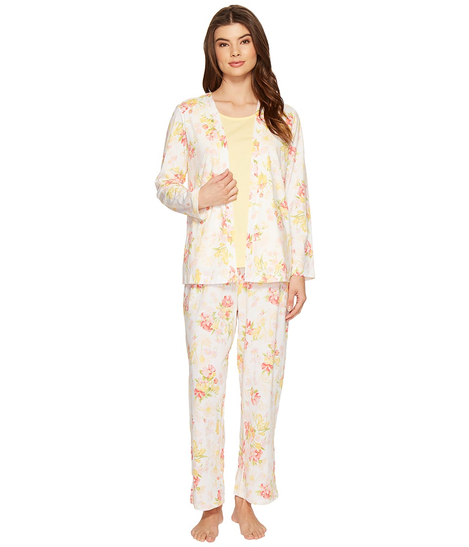 Carole Hochman - Three-Piece Pajama Set (Daisy Shadow) Women's Pajama Sets