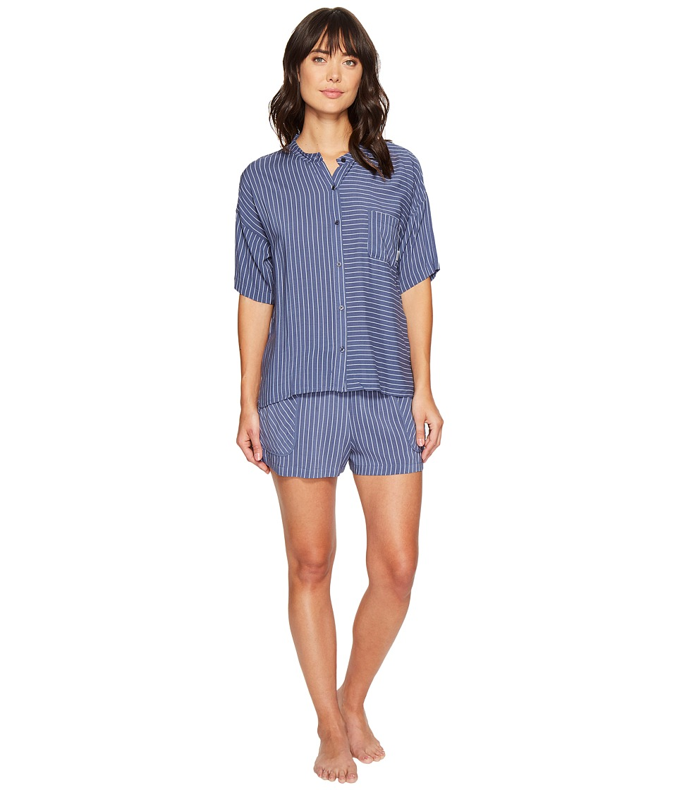 DKNY - Fashion 3/4 Sleeve Top and Boxer Set (Himalayan Blue Stripe) Women's Pajama Sets