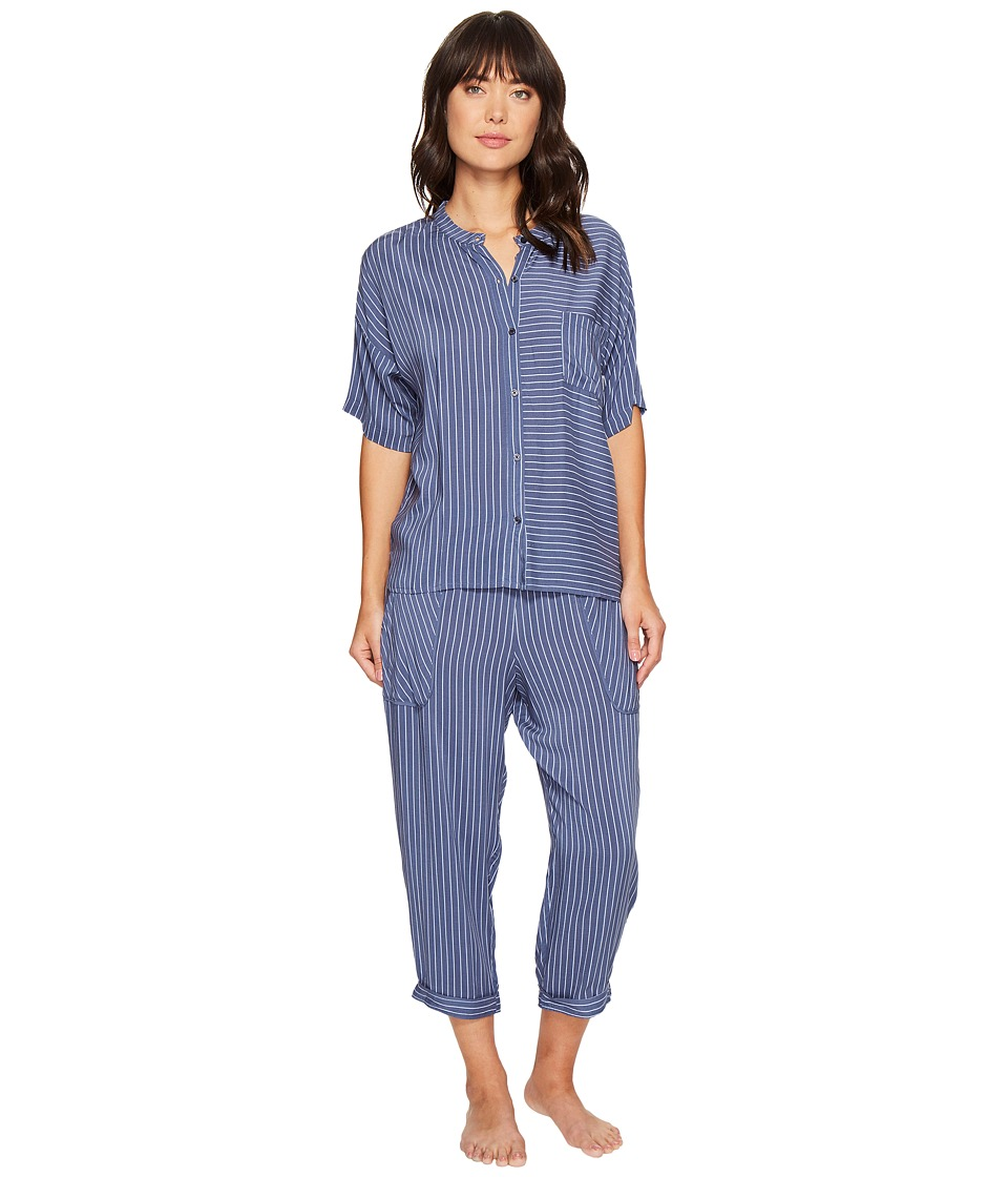 DKNY - Fashion 3/4 Sleeve Top and Capris Set (Himalayan Blue Stripe) Women's Pajama Sets