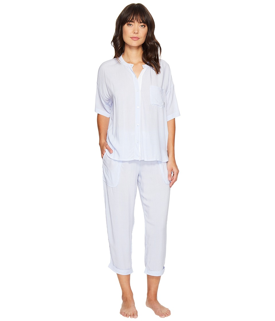 DKNY - Fashion 3/4 Sleeve Top and Capris Set (Oxford Mini Stripe) Women's Pajama Sets