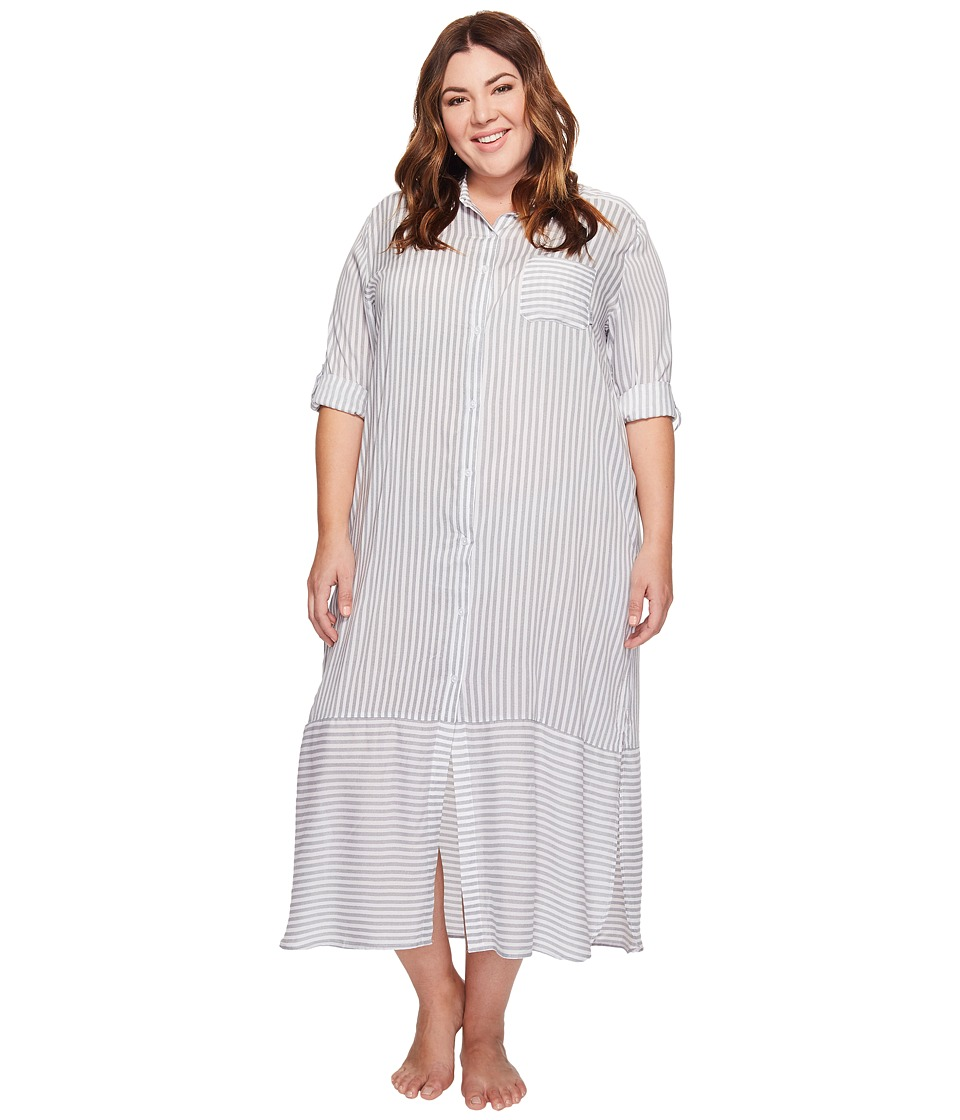 DKNY - Plus Size Fashion Long sleeve Sleep Maxi (White Stripe) Women's Pajama