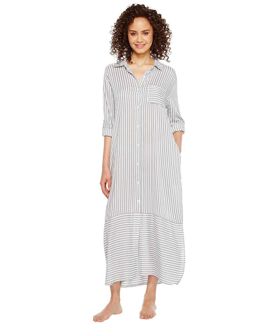 DKNY - Fashion Long Sleeve Sleep Maxi (White Stripe) Women's Pajama
