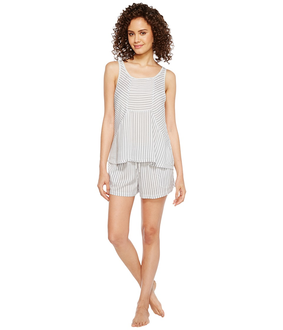 DKNY - Fashion Tank Boxer Sets (White Stripe) Women's Pajama Sets