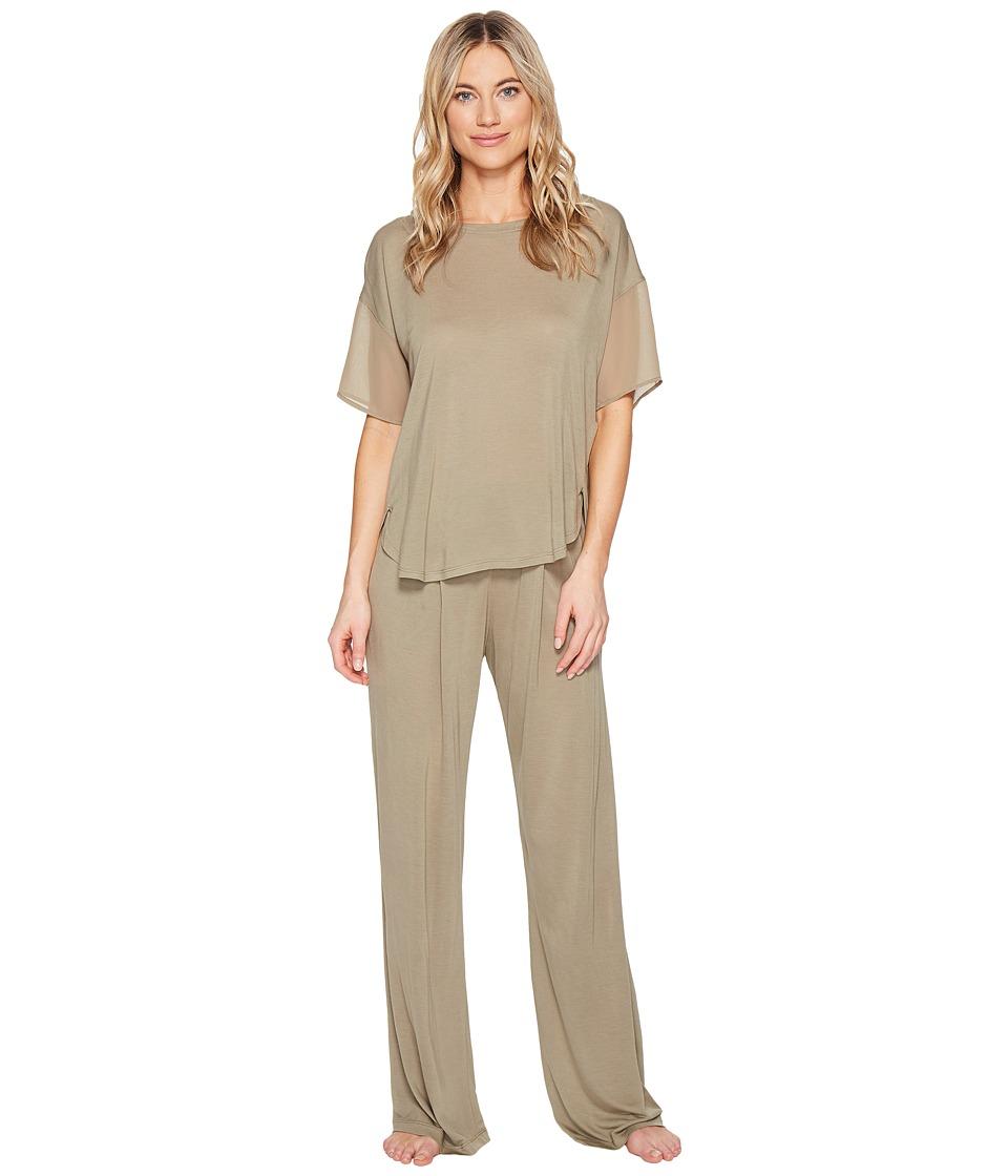 DKNY - Fashion Short Sleeve Top Pants Sets (Sage) Women's Pajama Sets