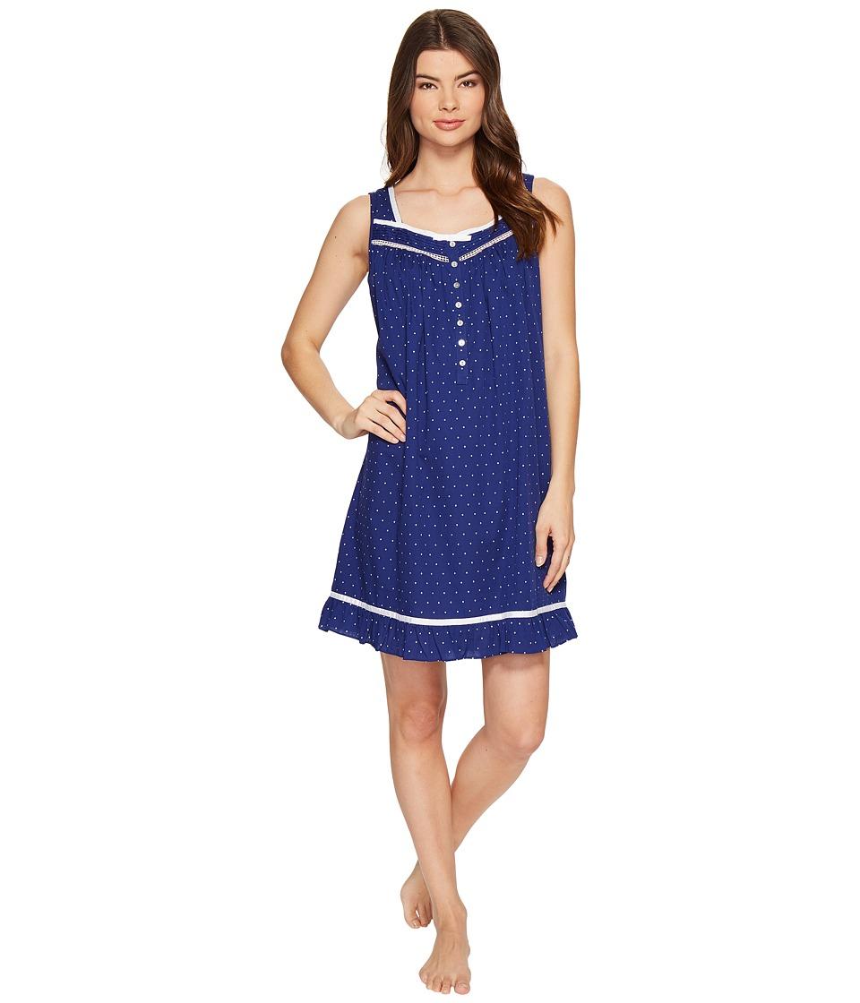 Eileen West - Cotton Woven Dot Short Nightgown (Blue Dot) Women's Pajama