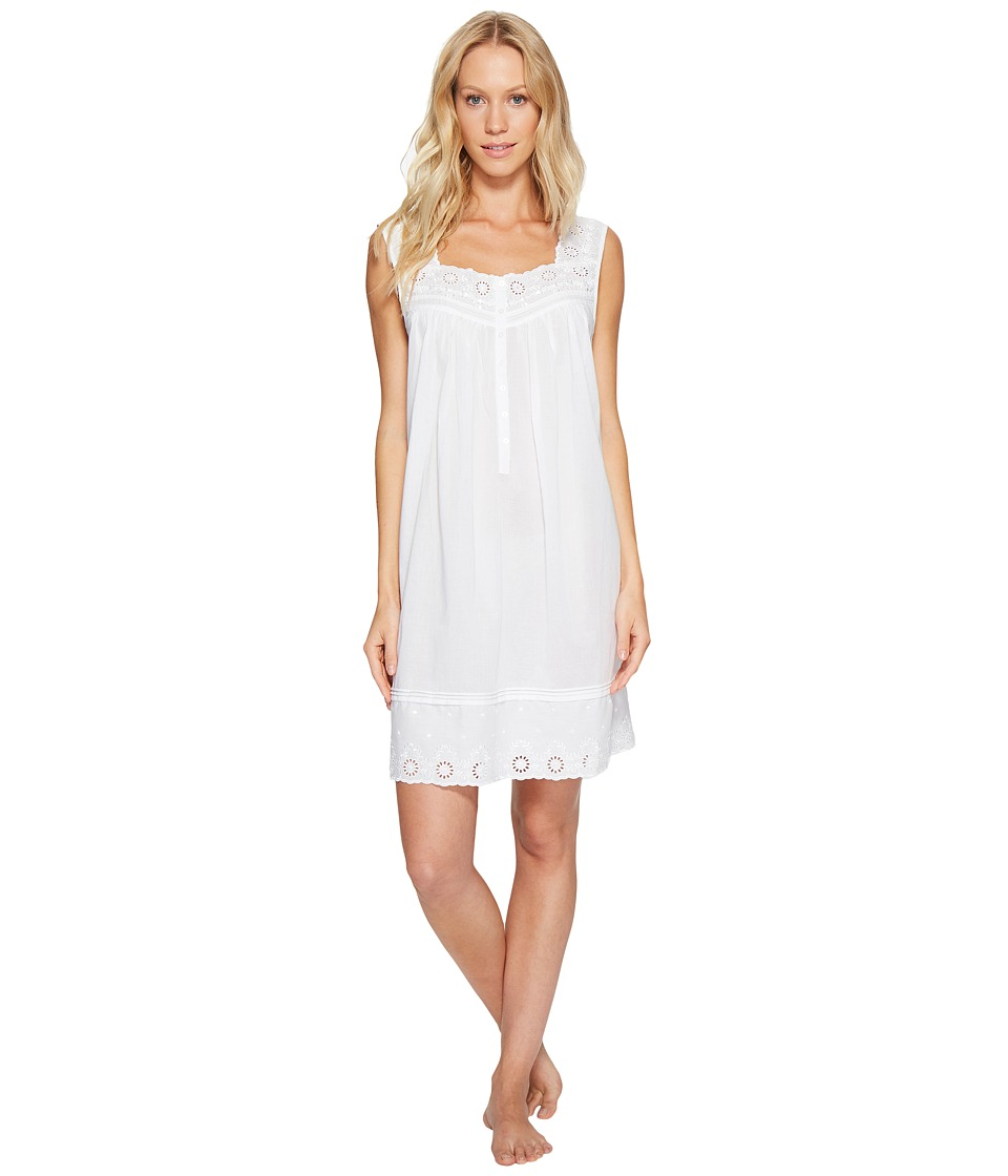 Eileen West - Cotton Embroidered Lawn Chemise (White/Floral) Women's Pajama