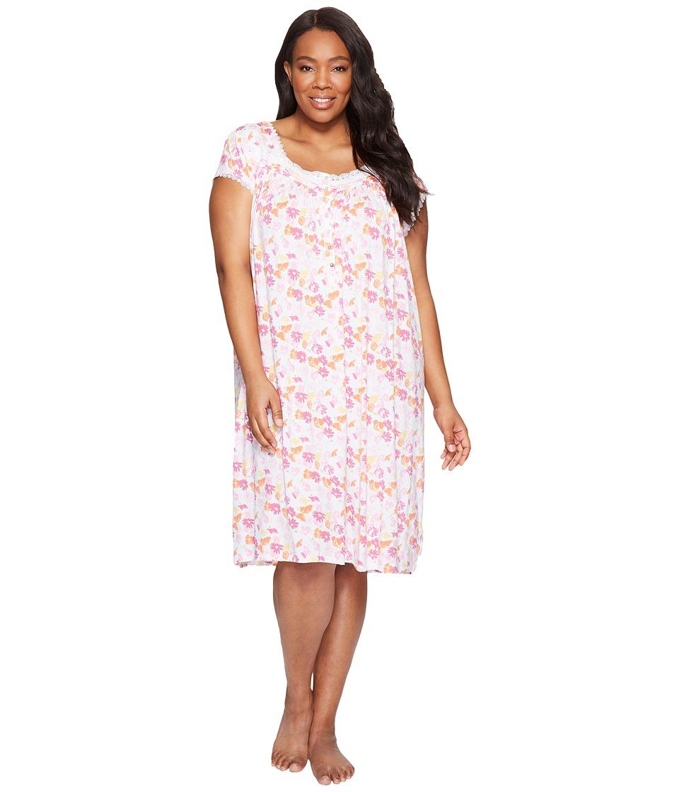 Eileen West Plus Size Modal Spandex Waltz Nightgown (Flor...