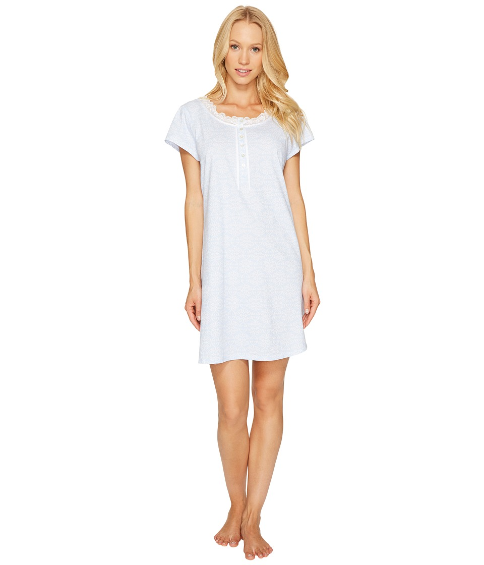 Eileen West - 100% Cotton Jersey Short Sleepshirt (Periwinkle Ground) Women's Pajama