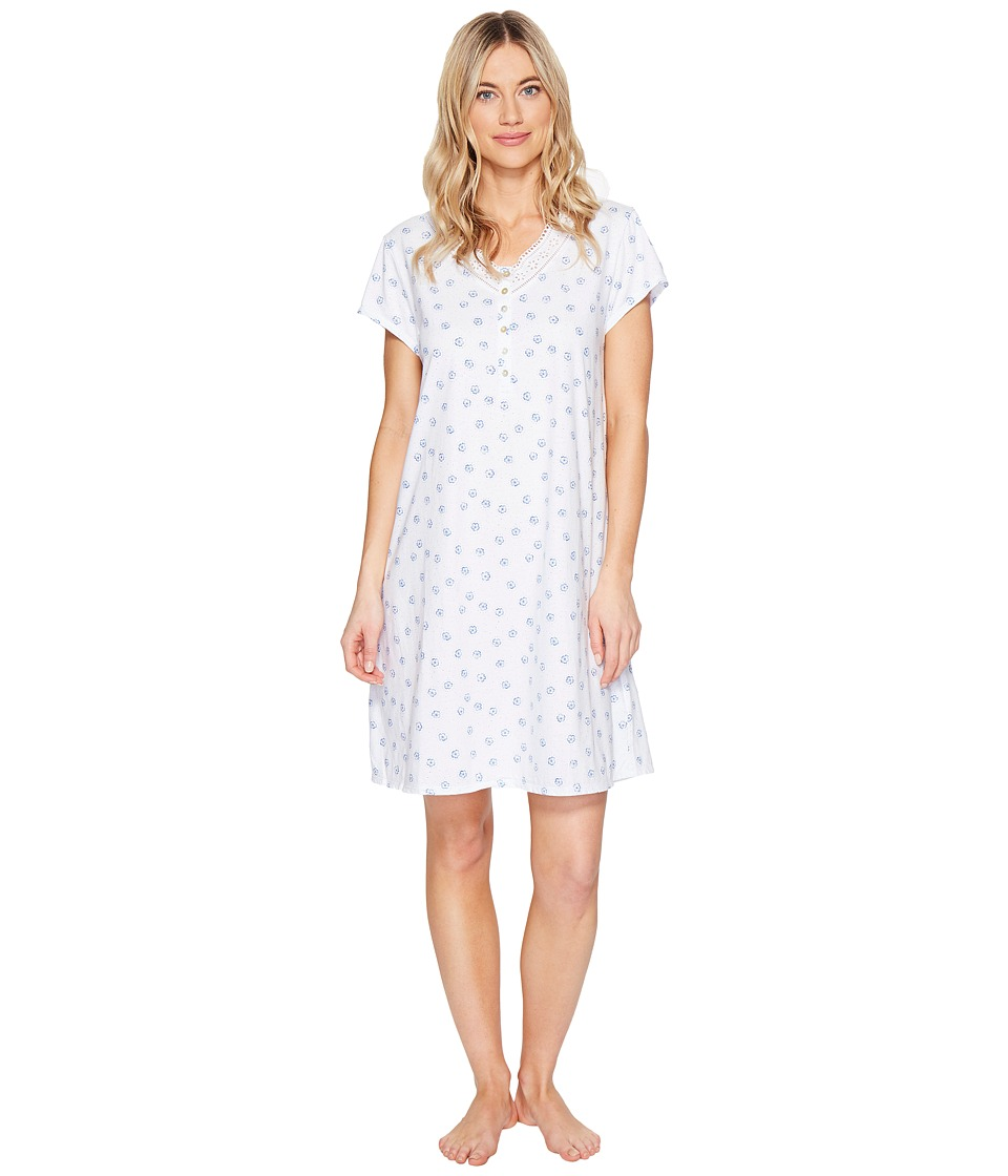 Eileen West - Cotton Jersey Short Sleepshirt (White Blue) Women's Pajama