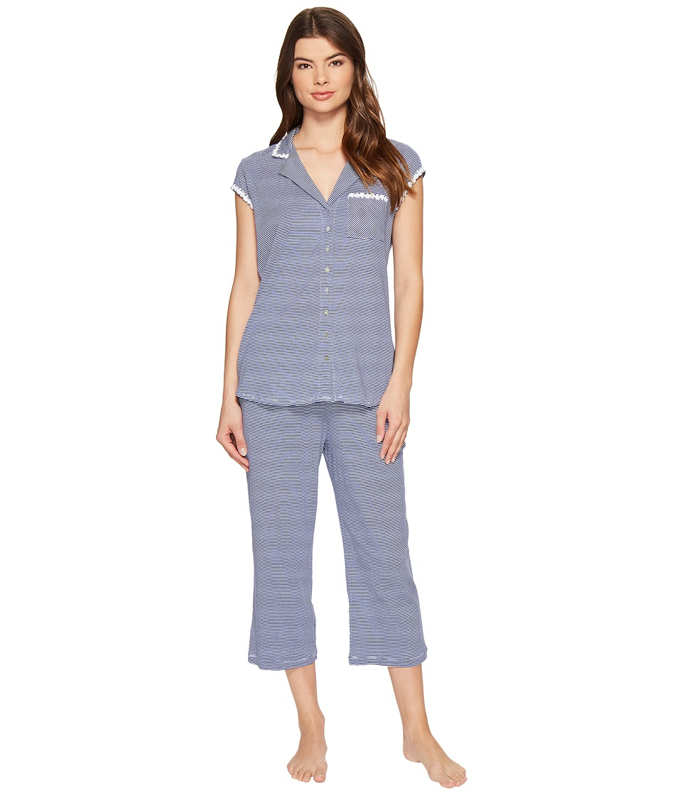 Eileen West - Cotton Stripe Short Sleeve Capris PJ Set (Navy Stripe) Women's Pajama Sets