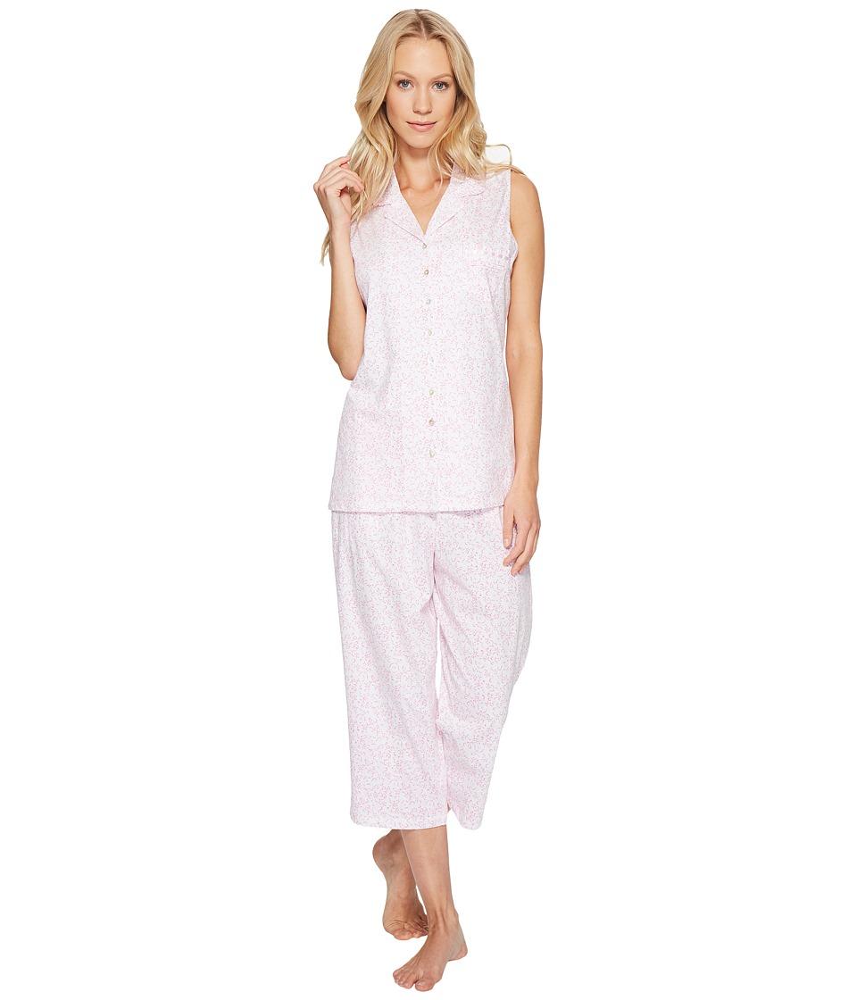 Eileen West - Cotton Jersey Notch Collar Capris PJ (White/Pink) Women's Pajama Sets