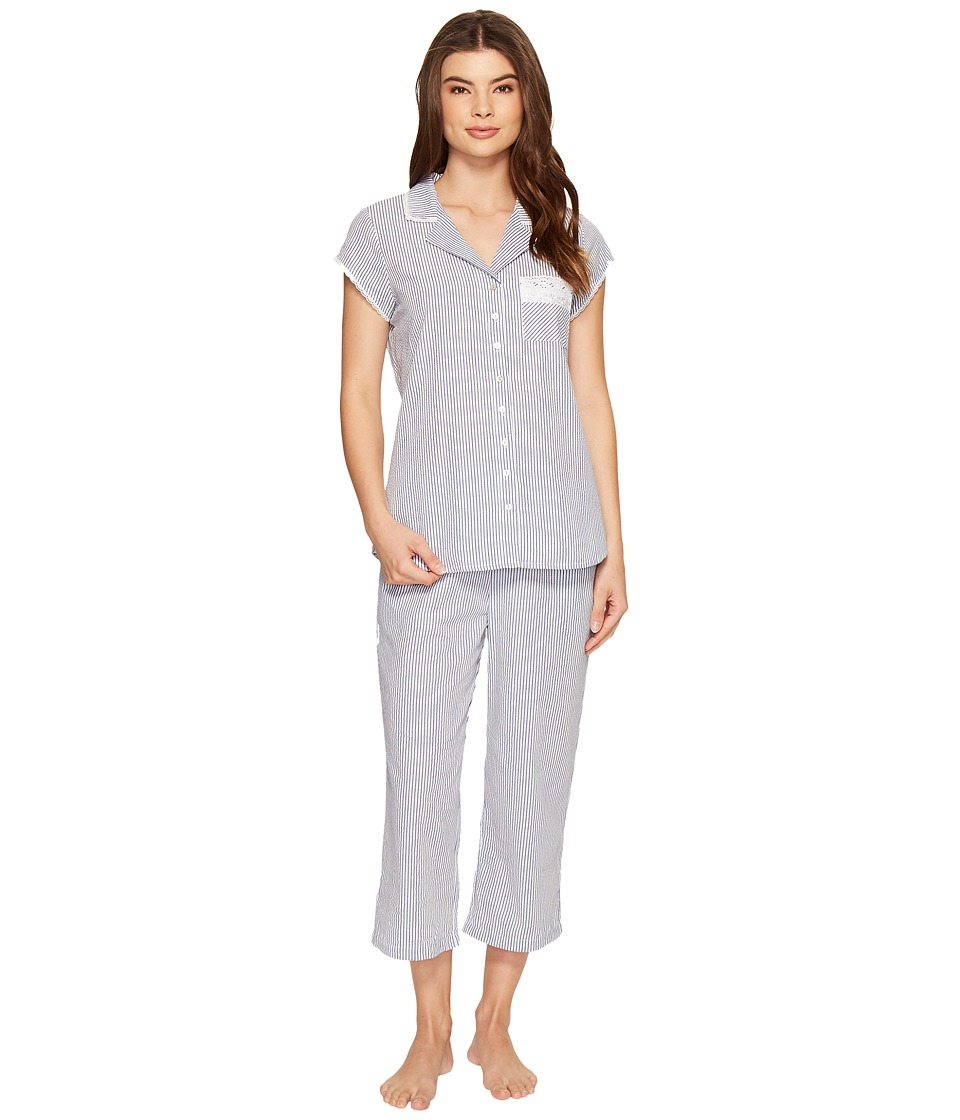 Eileen West - Seersucker Notch Collar Capris PJ (Navy Stripe) Women's Pajama Sets