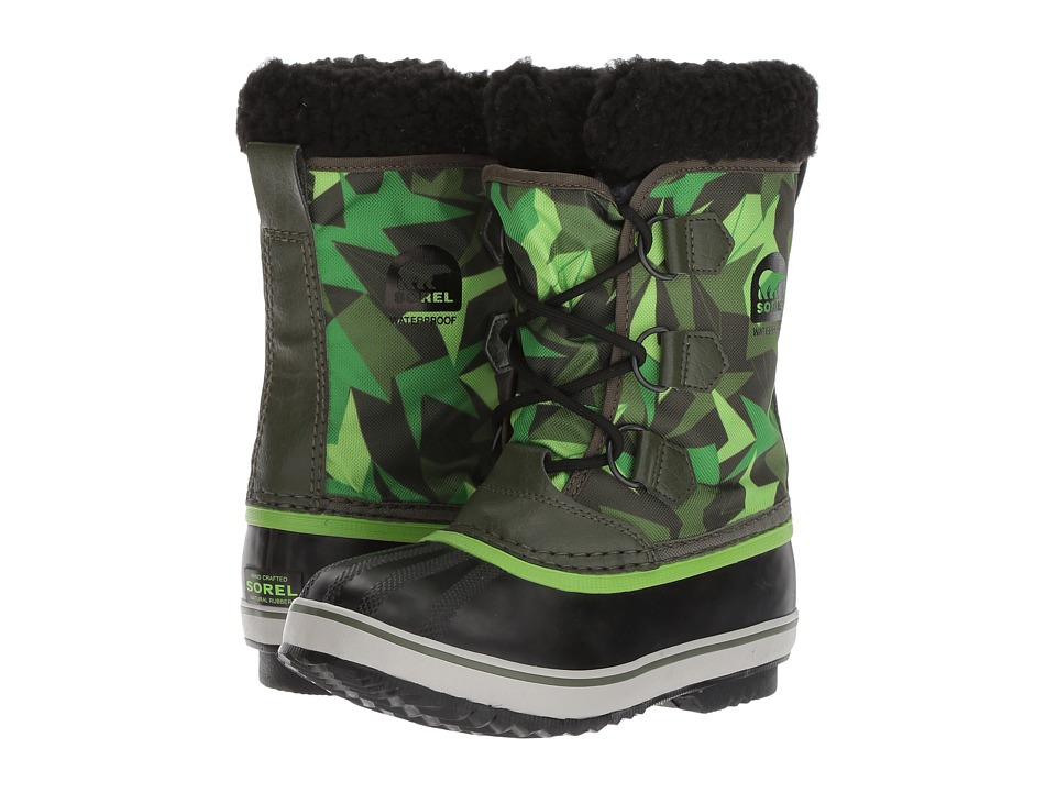 SOREL Kids Yoot Pac Nylon Print (Little Kid/Big Kid) (Surplus Green/Green Mamba) Boys Shoes