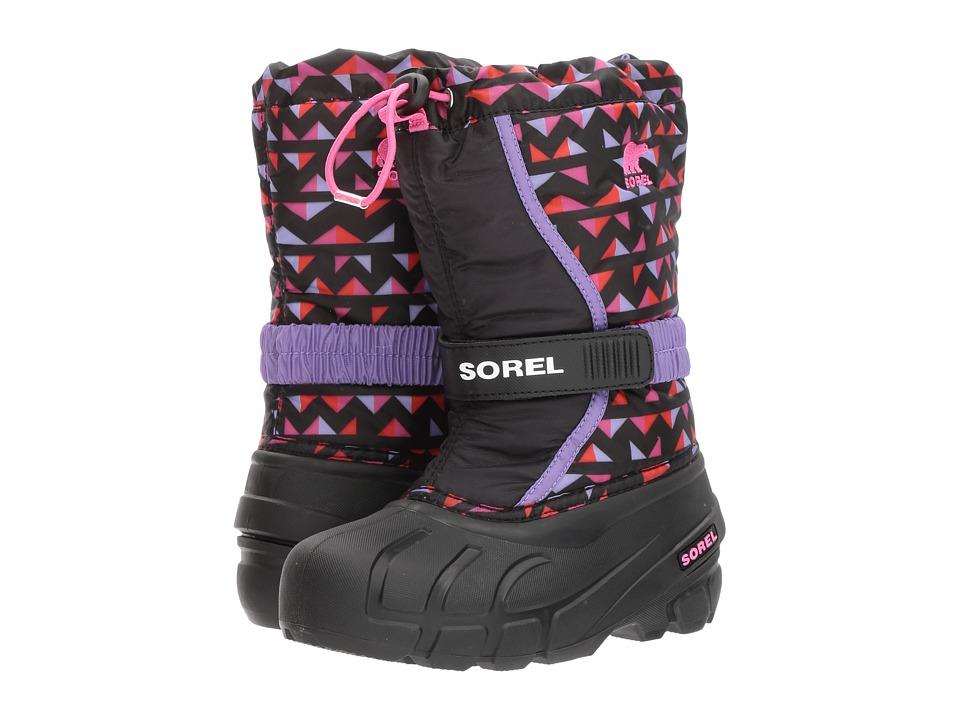 SOREL Kids Flurry Print (Toddler/Little Kid/Big Kid) (Black/Pink Ice) Girls Shoes