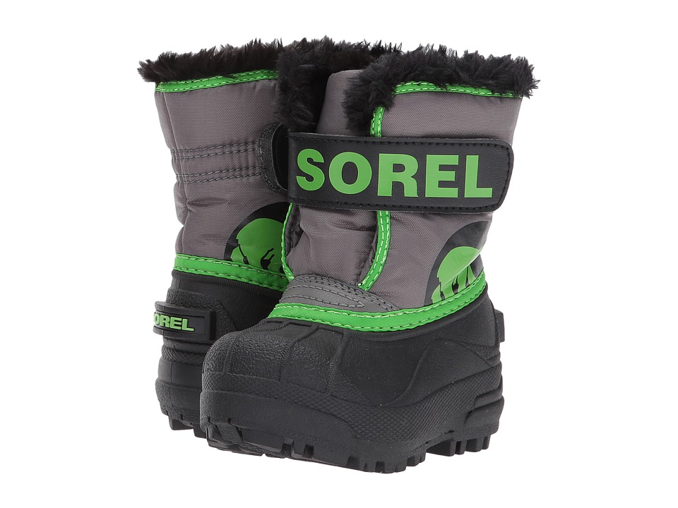 SOREL Kids Snow Commander (Toddler) (Quarry/Cyber Green) Boys Shoes