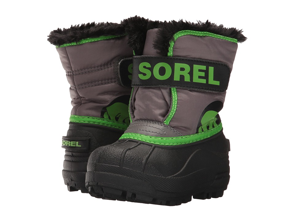 SOREL Kids Snow Commander (Toddler/Little Kid) (Quarry/Cyber Green) Boys Shoes
