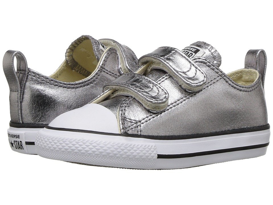 Converse Kids - Chuck Taylor All Star Metallic Canvas Ox (Infant/Toddler) (Metallic Gunmetal/White/Black) Girl's Shoes