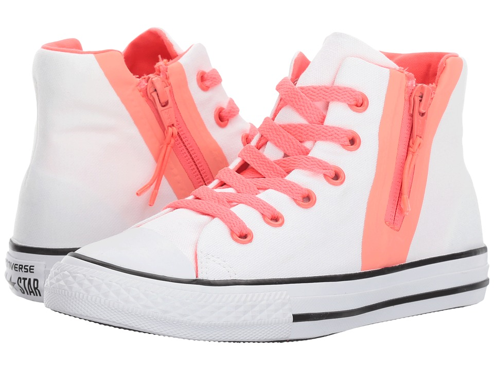 Converse Kids - Chuck Taylor All Star Sport Zip Hi (Little Kid/Big Kid) (White/Sun Blush/Hot Punch) Girl's Shoes