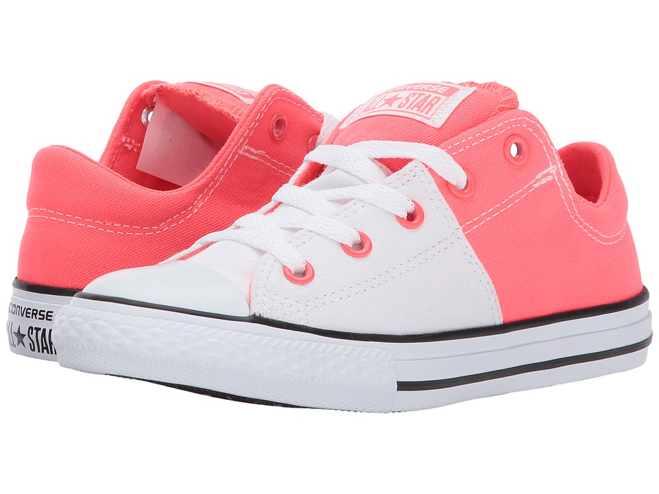 Converse Kids - Chuck Taylor All Star Madison Ox (Little Kid/Big Kid) (White/Hot Punch/Black) Girl's Shoes