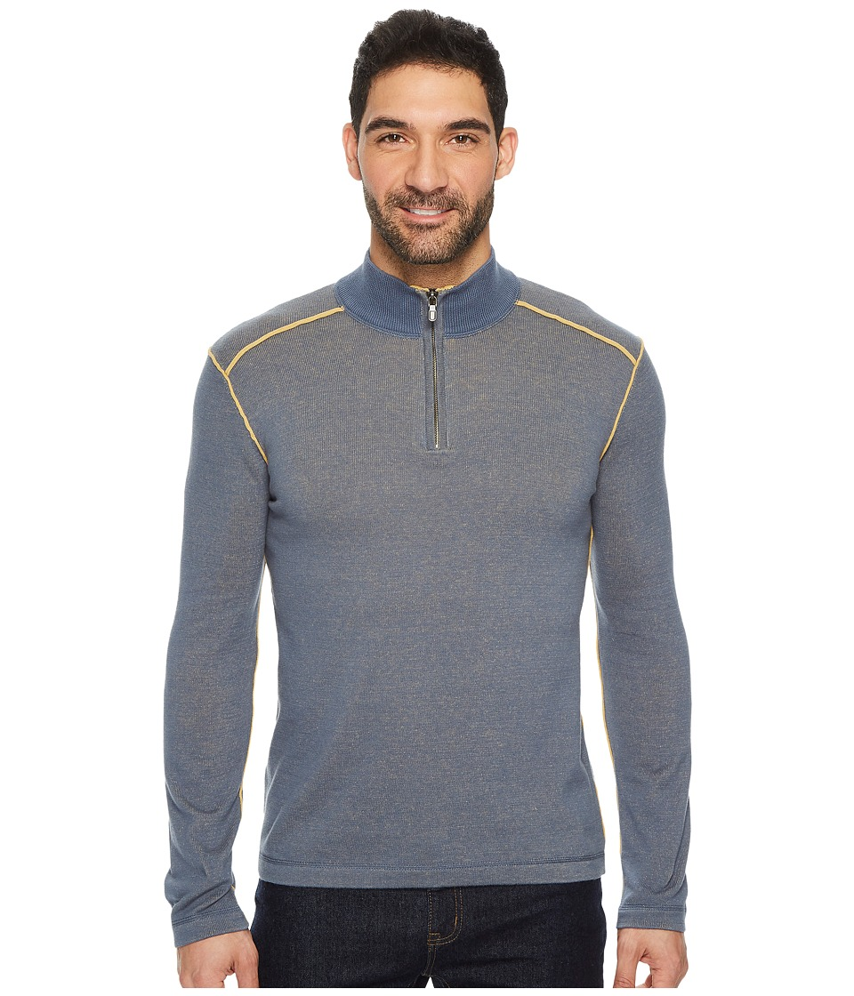 Ecoths Noah Zip Neck Sweater (Vintage Indigo) Men