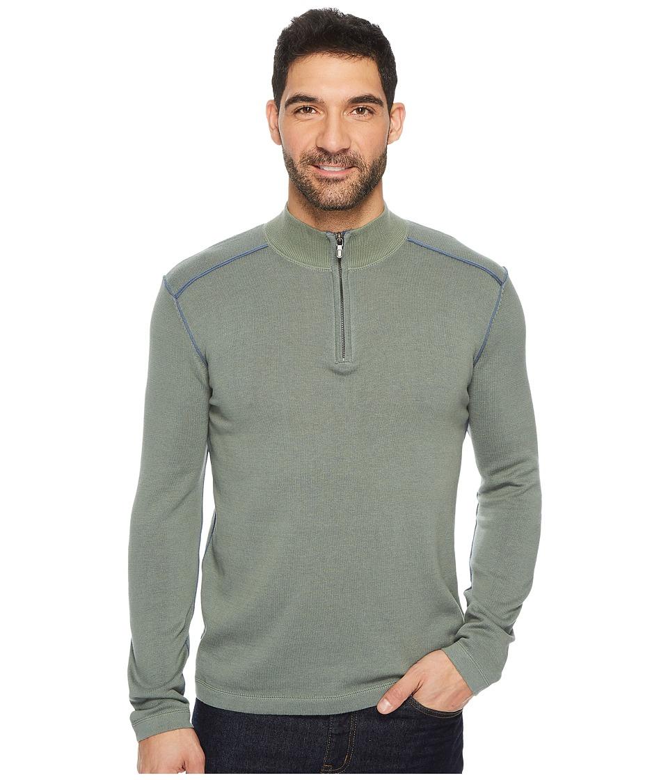Ecoths Noah Zip Neck Sweater (Agave Green) Men