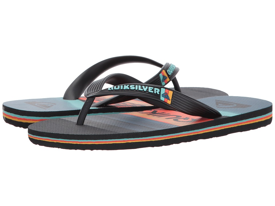 Quiksilver Kids - Molokai Slash Logo (Toddler/Little Kid/Big Kid) (Black/Orange/Blue) Boys Shoes