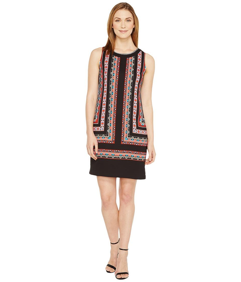 Vince Camuto - Sleeveless Havana Geo Shift Dress (Rich Black) Women's Dress