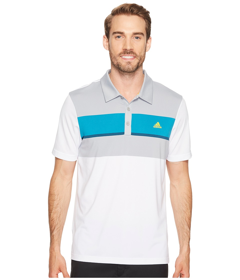 adidas Golf climacool Engineered Block Polo (White/Mid Grey/Mystery Petrol/Petrol Night) Men
