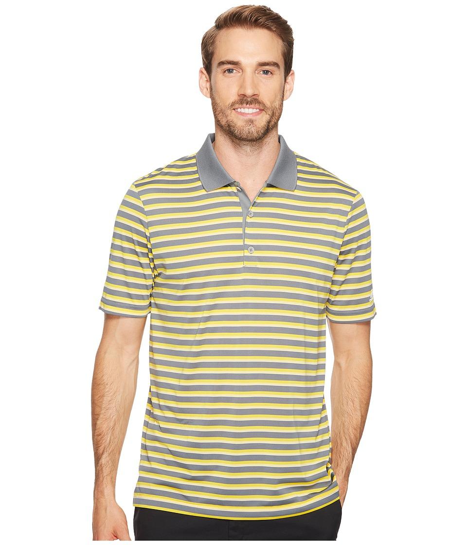 adidas Golf - Club Merch Stripe Polo (Mid Grey/Black/White) Men's Short Sleeve Pullover