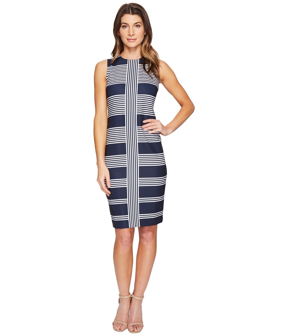 Taylor - Striped Stretch Crepe Midi (Navy/Ivory) Women's Dress