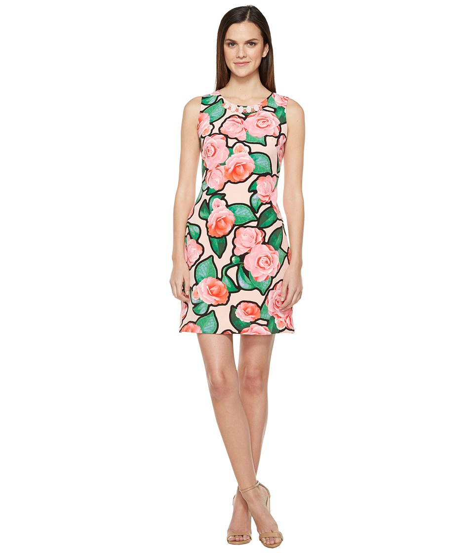 Taylor - Rose Print Beaded Stretch Crepe Shift Dress (Petal Pink) Women's Dress