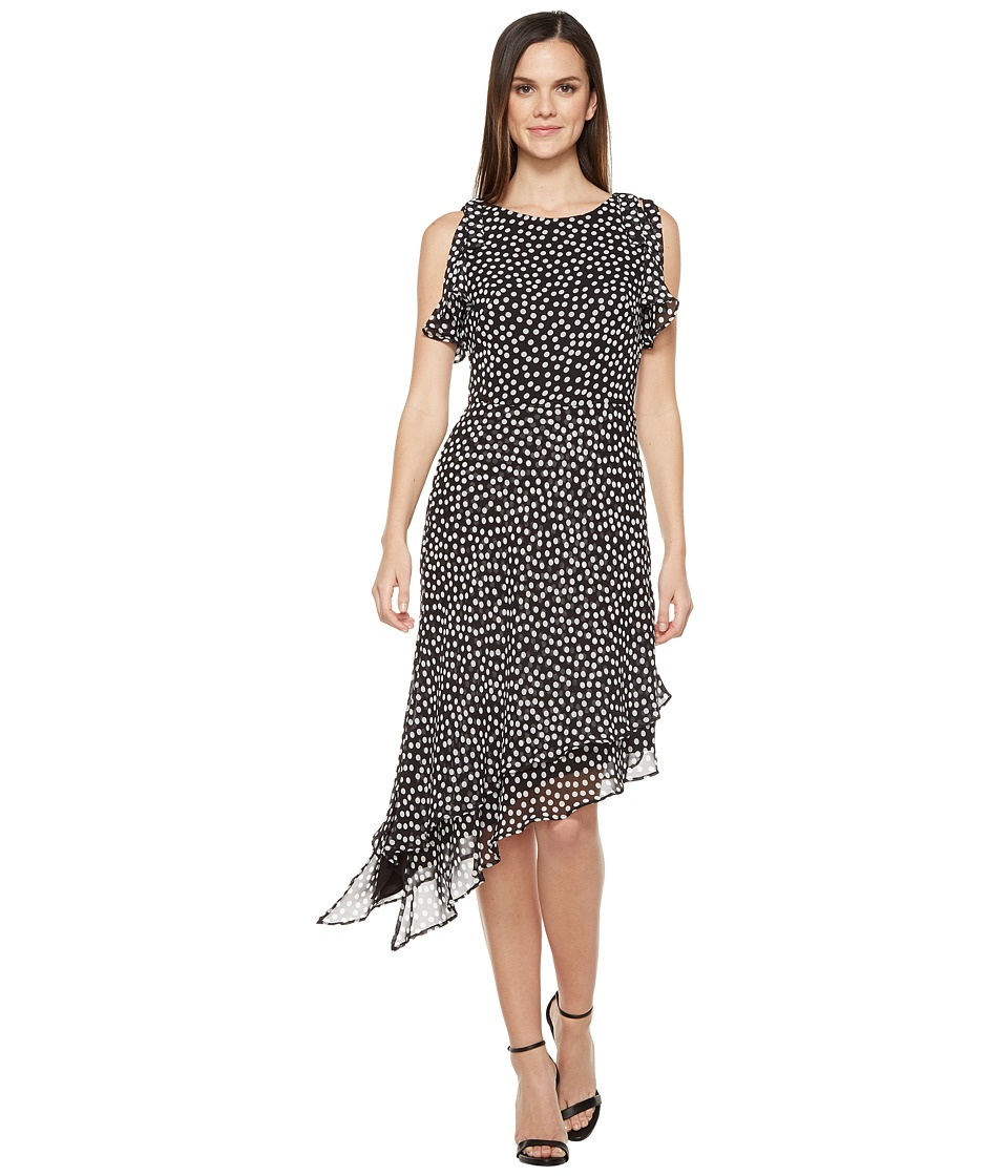 Taylor - Chiffon Polka Dot Asymmetrical Maxi (Black/White) Women's Dress