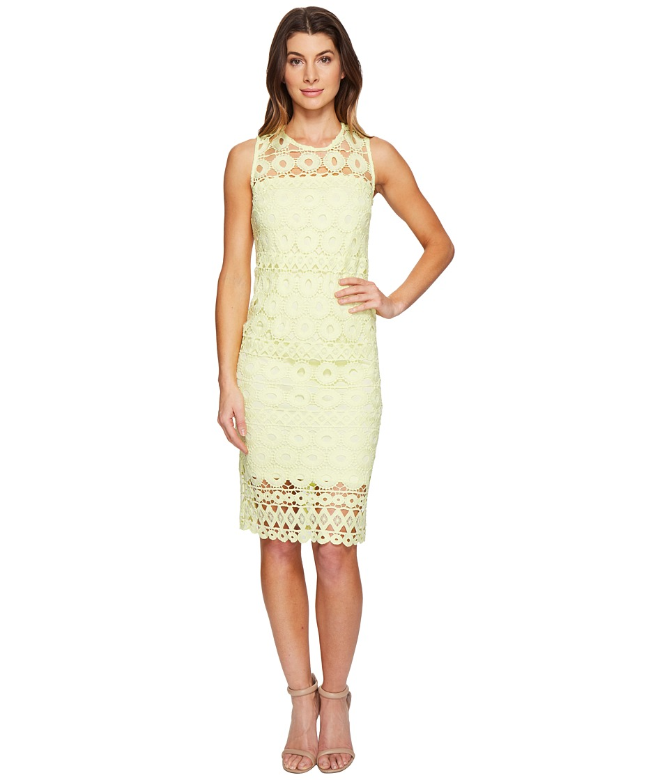 Taylor - Chemical Burnout Midi Dress (Lemon Zest) Women's Dress