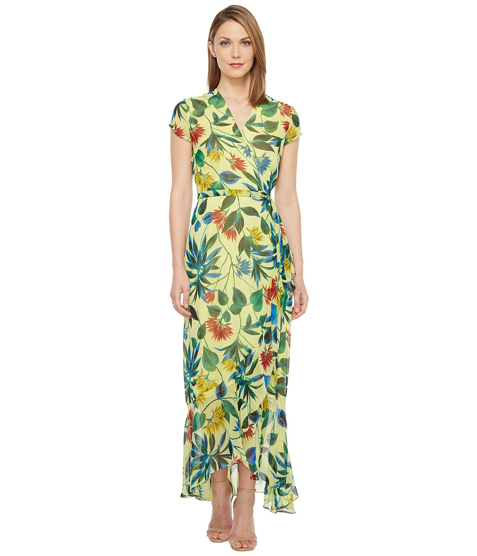 Taylor - Chiffon Floral Maxi Wrap Dress (Lemon Zest) Women's Dress