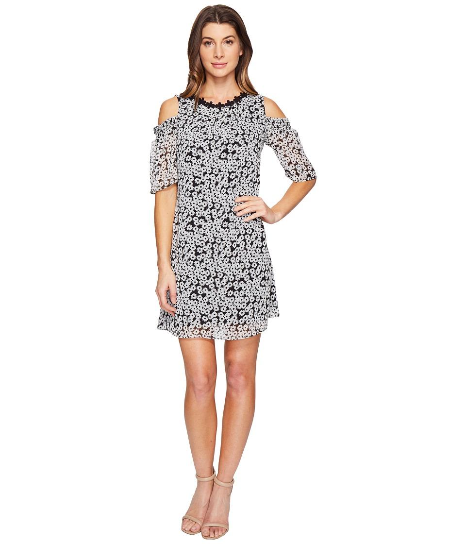 Taylor - Cold Shoulder Daisy Chiffon Dress (Black/Ivory) Women's Dress