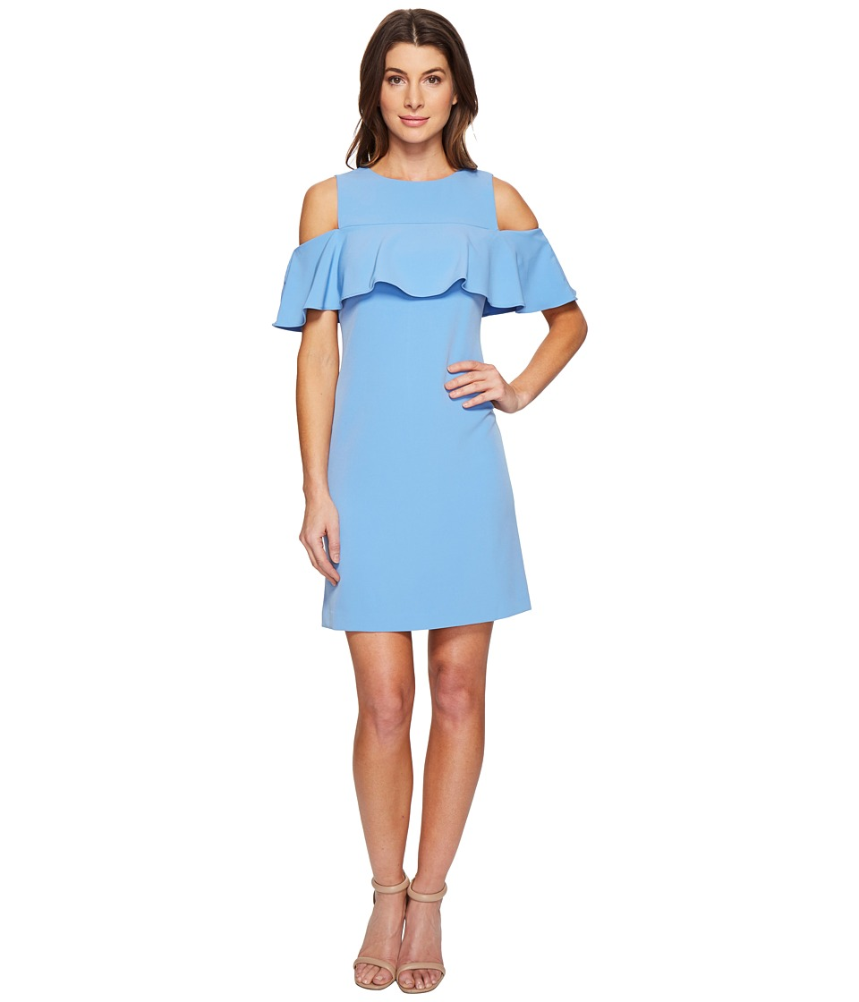 Taylor - Ruffle Front Cold Shoulder Stretch Crepe Dress (Powder Blue) Women's Dress