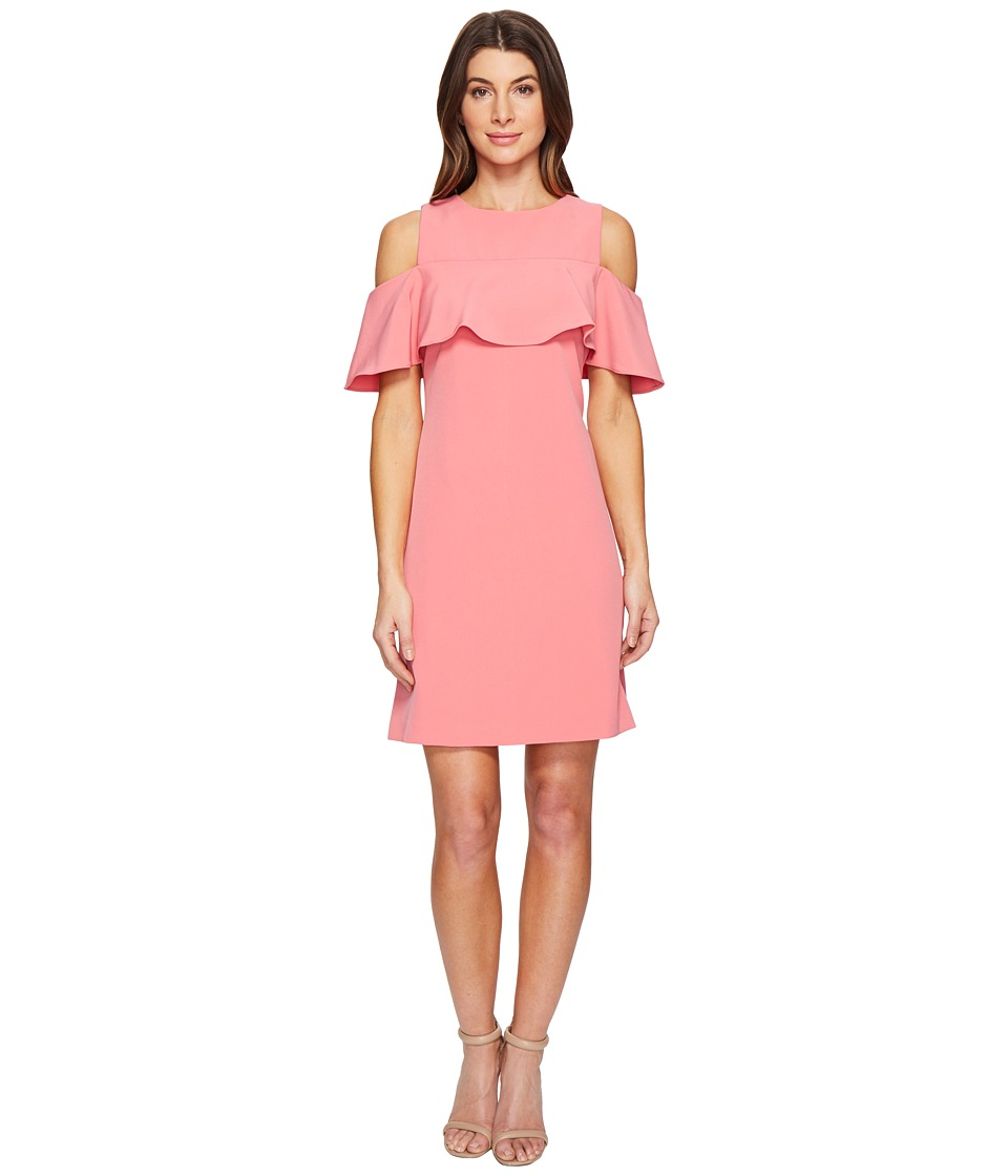 Taylor - Ruffle Front Cold Shoulder Stretch Crepe Dress (Watermelon) Women's Dress
