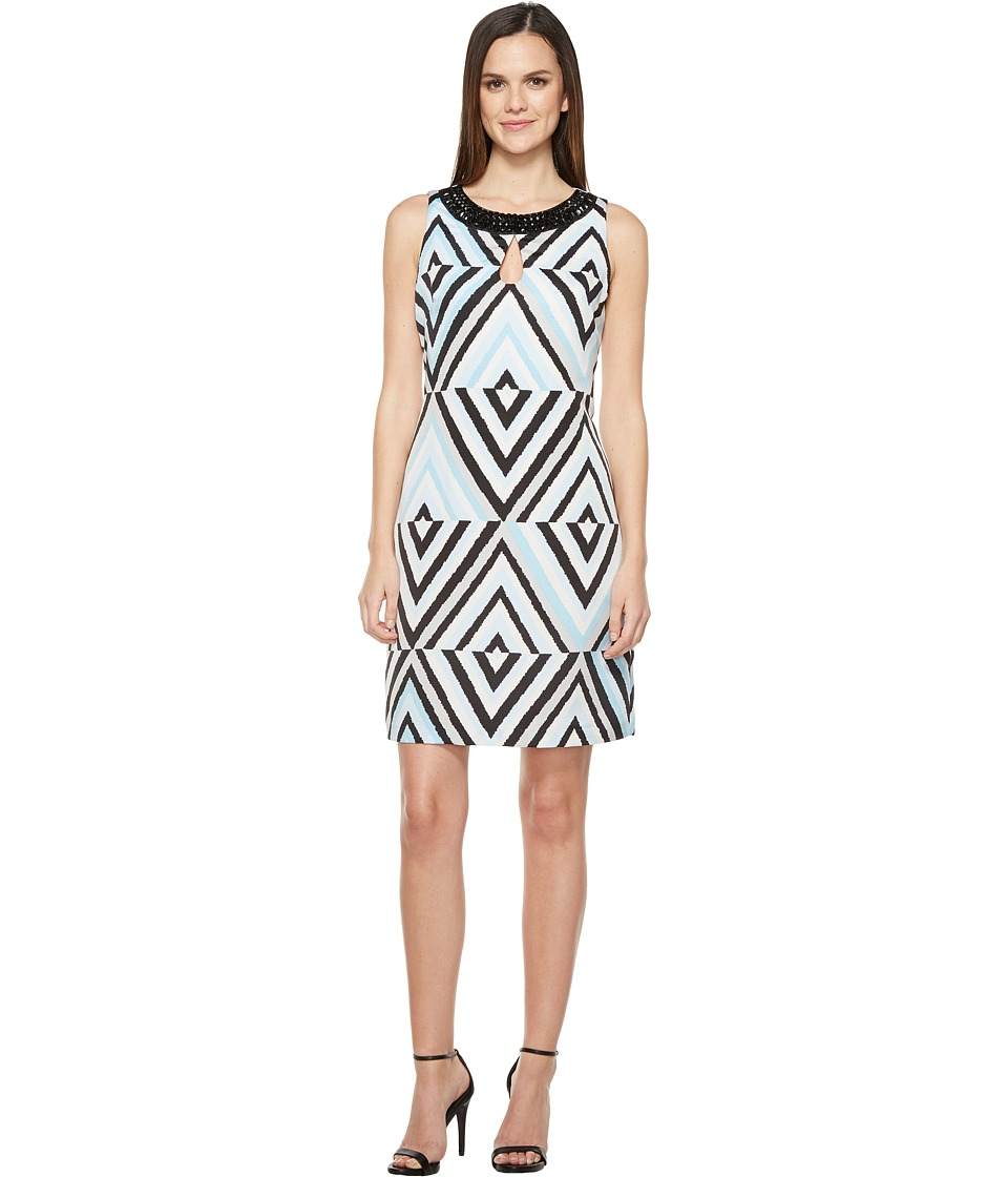 Taylor - Embellished Bangaline Shift Dress (Sky Blue/Black) Women's Dress