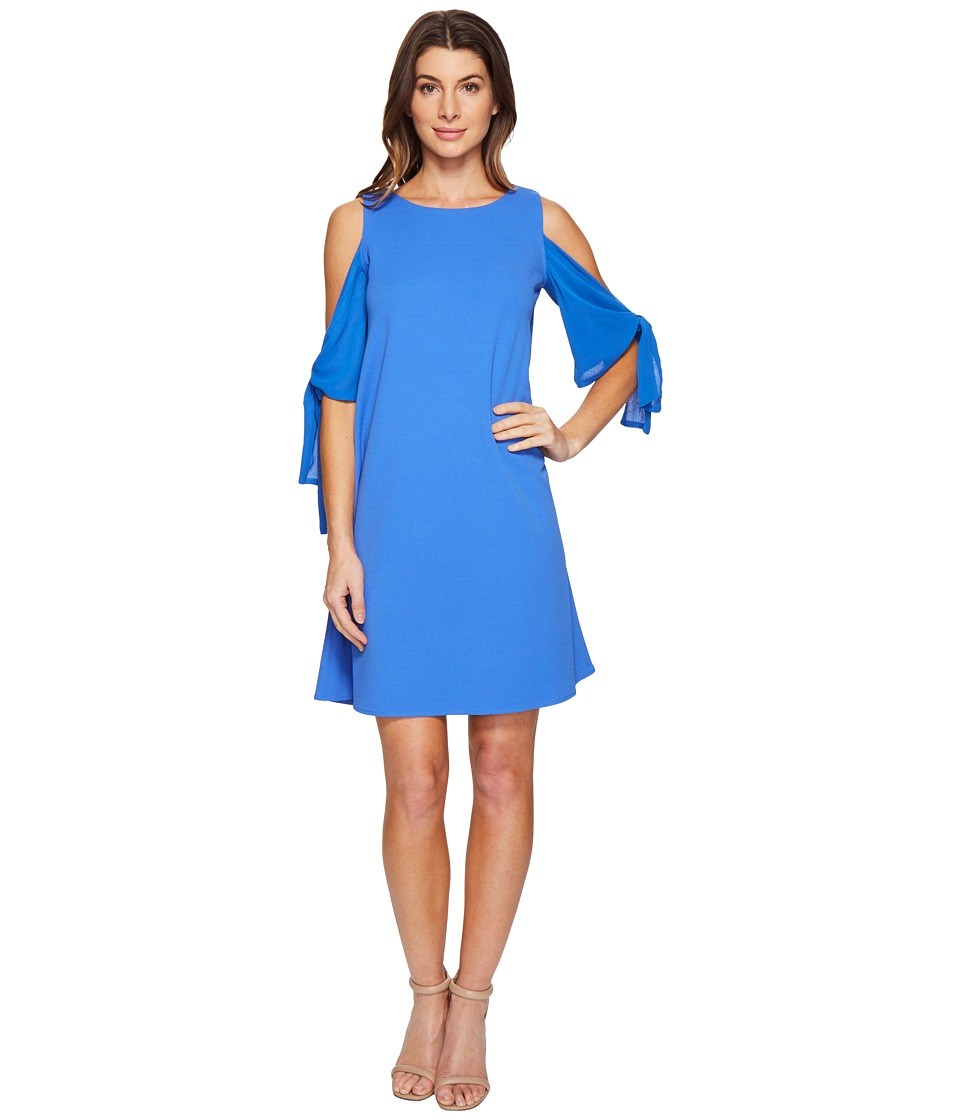 Taylor - Cold Shoulder Crepe and Chiffon (Lapis) Women's Dress