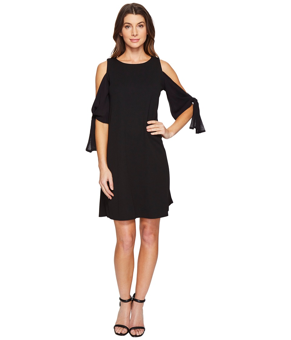 Taylor - Cold Shoulder Crepe and Chiffon (Black) Women's Dress