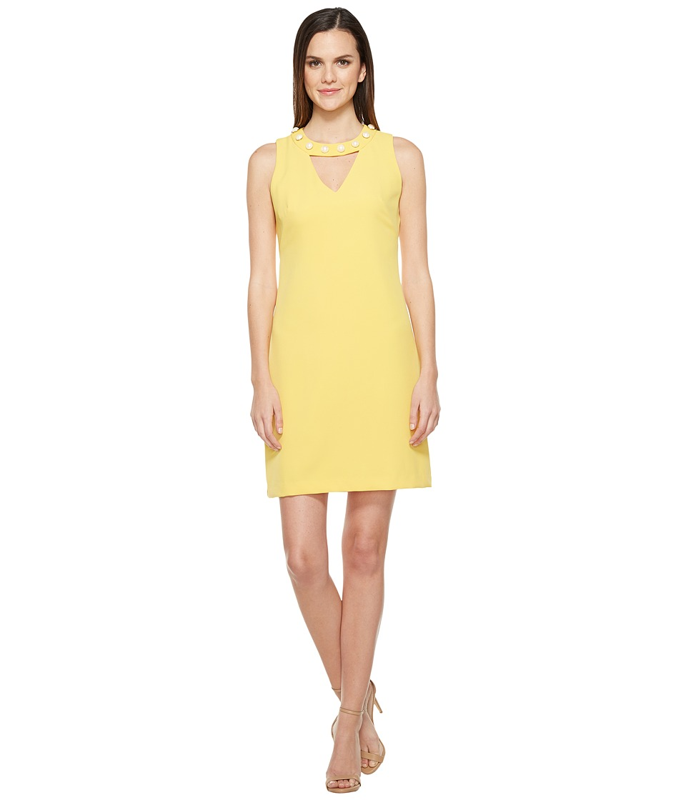 Taylor Pearl Trim Stretch Crepe Sheath Dress (Sunshine) Women