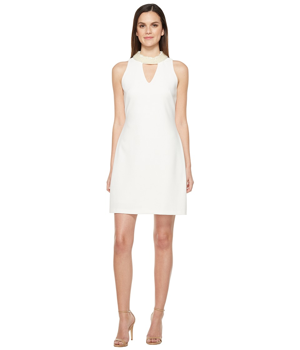 Taylor - Pearl Neck Stretch Crepe Sheath Dress (Ivory) Women's Dress